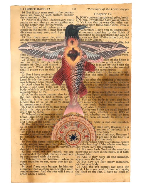 Bible page displays the Sacred Heart of Jesus GoldCrow. How are we to swim through the text and pick out sections that have meaning? Someone needs to guide us, allow us to fly to the sections we need today, and for the future.
